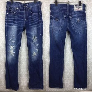 True Religion straight leg distressed jeans